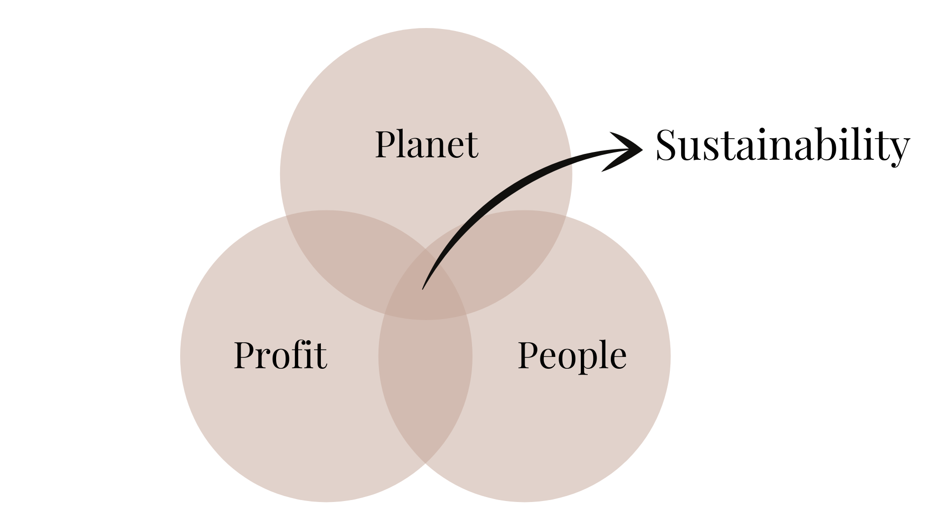 Drawing of the three pillars of sustainability